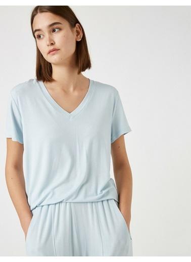 Koton Respect Life - Yasama Saygi - %100 Viskon Pijama Üstü Mavi